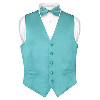 Biagio Men's SILK Dress Vest Bow Tie Solid BowTie Set