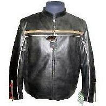 Mens Cowhide Leather Jacket With Tan Stripe