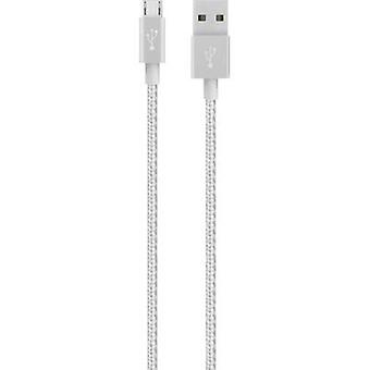 USB 2.0 Cable [1x USB 2.0 connector A - 1x USB 2.0 connector Micro B] 1.2 m Silver with sleeve Belkin