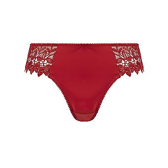 Guy de France 11010-181-004 Women's Red Solid Colour Lace Knickers Panty Brief
