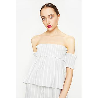 English Factory Off-The-Shoulder Striped Top