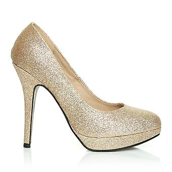 EVE Champagne Glitter Stiletto High Heel Platform Court Shoes