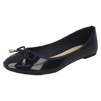 Ladies Spot On Patent Ballerina Shoes F80388 - Navy Synthetic Patent - UK Size 7 - EU Size 40 - US Size 9