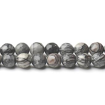 Strand 40+ Grey/Black Veined Jasper 8mm Faceted Round Beads CB44630-3