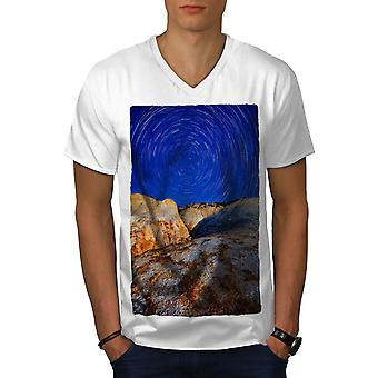 Spiral Star Wild Nature Men WhiteV-Neck T-shirt | Wellcoda
