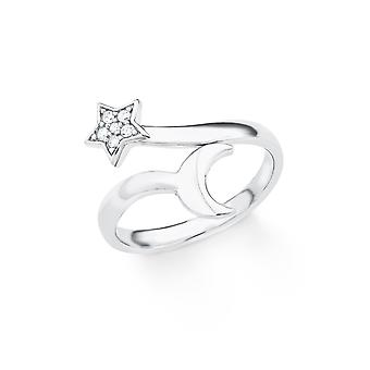 s.Oliver juvel damer ring silver cubic zirconia star Moon 201864