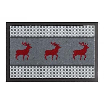 Paillasson saleté piégeage coussin cerf chevreuil Grau rouge 40 x 60 cm