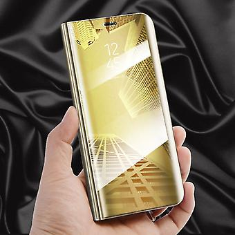 Pour couvercle à puce Samsung Galaxy S8 G950 G950F vue dégagée miroir miroir or Housse Etui protection pochette sac cas nouveaux cas de réveil fonction