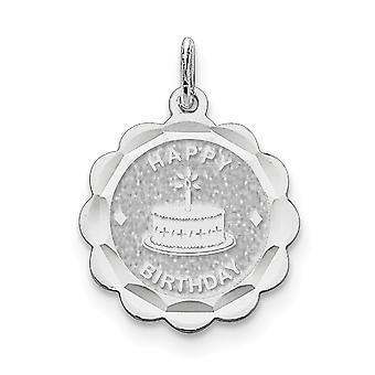 Prata esterlina sólida facetada Engravable feliz aniversário disco encanto - 1,4 gramas