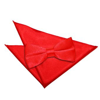 Rode platte satijnen strikje & zak plein Set