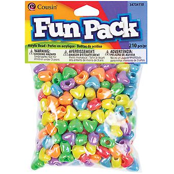 Fun Pack Acrylic Heart Beads 210/Pkg-Assorted Colors