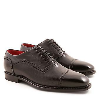 Handmade men's black plain cap toe oxfords shoes