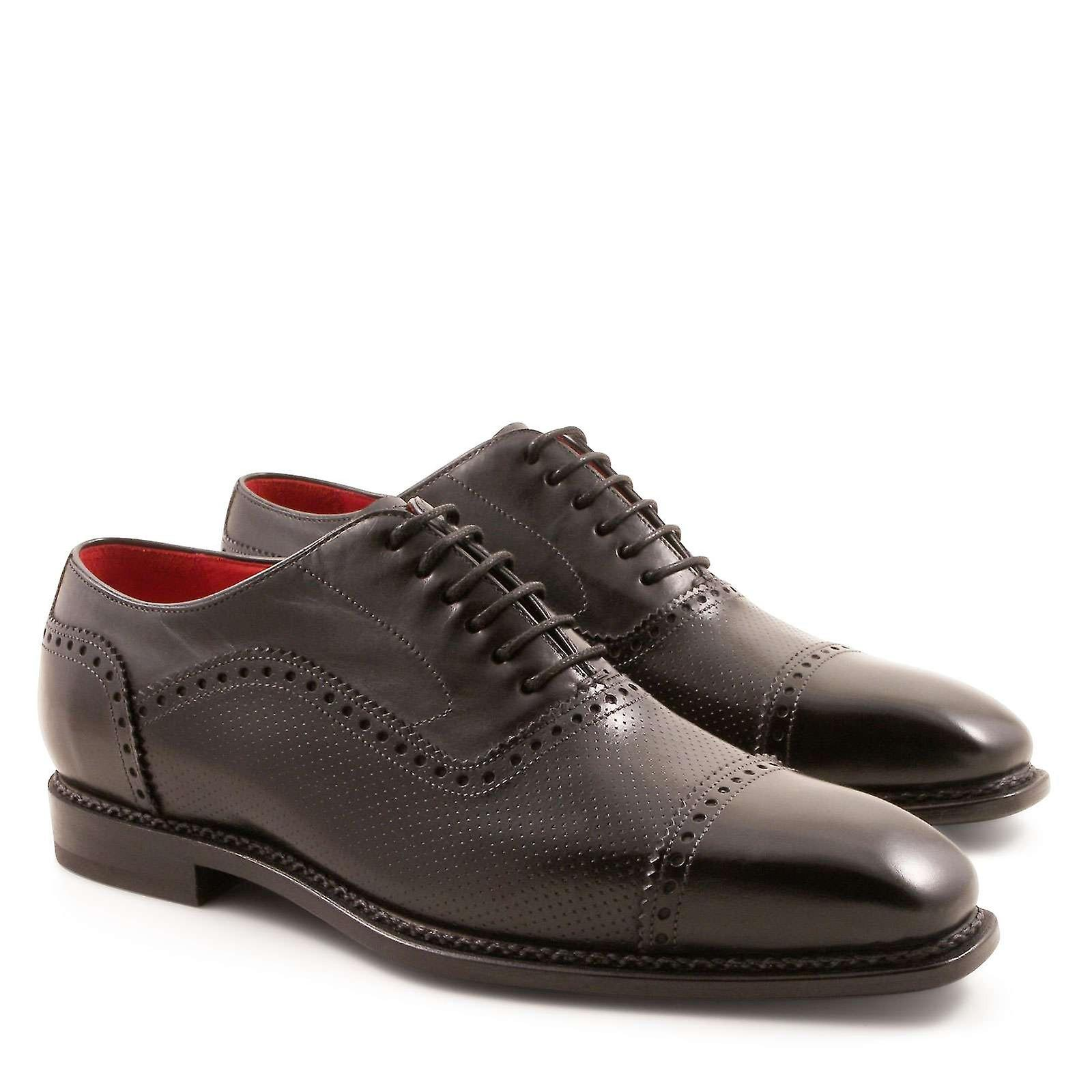 Handmade men& 039;s noir plain cap toe oxfords chaussures