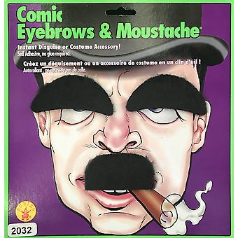 Comic Cartoon Charlie Chaplin 1920s Men Costume Moustache and Eyebrows Set
