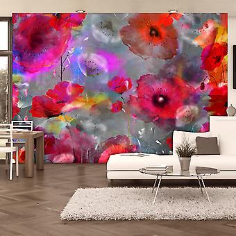 Behang - geschilderd papavers