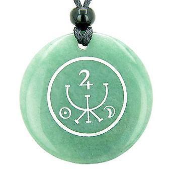 Universe Ancient Money Sigil Talisman Green Aventurine Magic Circle Good Luck Pendant Necklace
