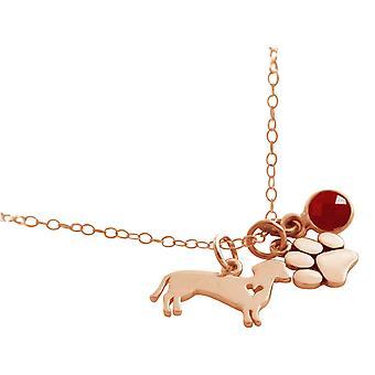 GEMSHINE Dackel und Pfote Tatze Anhänger mit rotem Rubin Edelstein. Massiv 925 Silber, vergoldet oder rose an 45cm Halskette – Made in Madrid, Spain