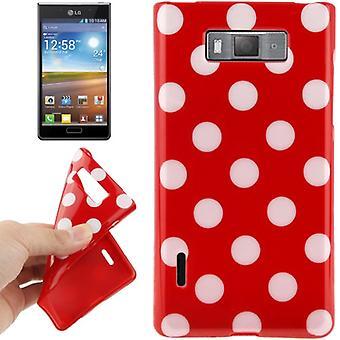 携帯電話 lg 電子オプティマス L7 E705 赤ケースの保護ケース TPU ポイント