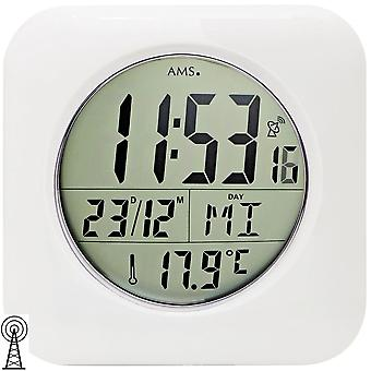 AMS 5930 wall clock table clock bathroom clock radio digital white waterproof date thermometer