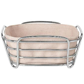 Blomus bread basket small DELARA chromed steel wire with cotton insert Rose Dust