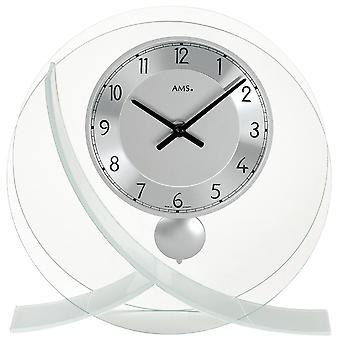Quartz clock table clock with pendulum quartz round glass design metal dial