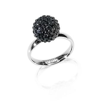 MANUEL ZED - Stainless Steel Rhinestone Ring - Black - G2066 0005 16