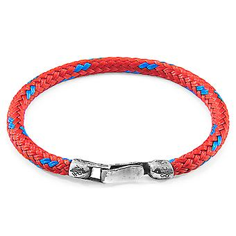 Anchor & Crew Red Paignton Silver and Rope Bracelet