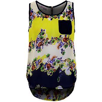 Ladies Floral Leopard Semi schier High/Low Baggy überdimensioniert Zip wieder Bluse Top
