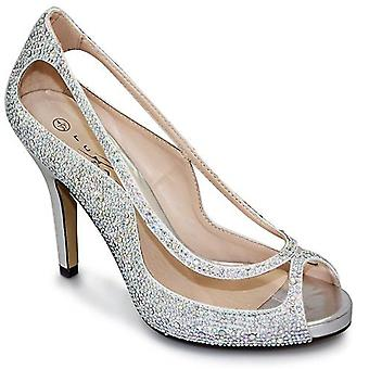 Rachel Ladies Stiletto Peep Toe Slip On Diamante Cut Out Party Heels