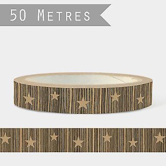 East of India Craft TAPE Brown with Stars 50m