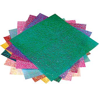 50 Sheets Square Iridescent Crystal Embossed Origami Paper - 14cm