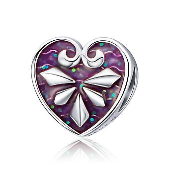 Sterling Silber Charm Herz mit lila Emaille
