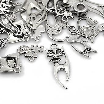 Packet 30 Grams Antique Silver Tibetan 5-40mm Cat Charm/Pendant Mix HA07905