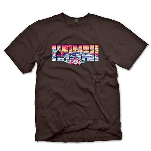 Heren T-shirt-Hawaii belettering met 80s Design