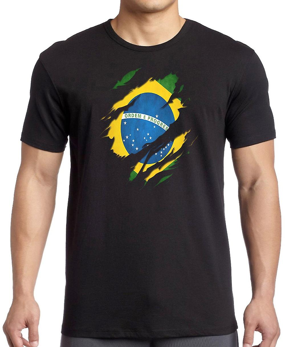 Brazillian Grunge Flag Ripped Effect T Shirt