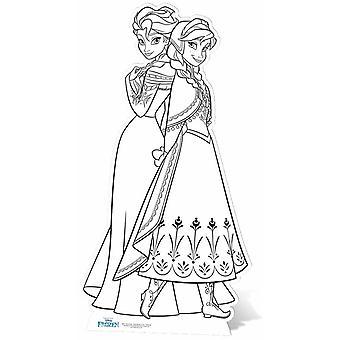 Anna e Elsa Disney congelados cor no recorte de papelão Lifesize / cartaz / stand-up