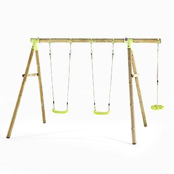 Swing Set - Loris Wooden Swing Set with 2 Swing Seats and Monkey Swing - Outdoor