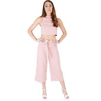 Lola Mai staubigen rosa hoch taillierte Culottes und Crop Top Co-ord