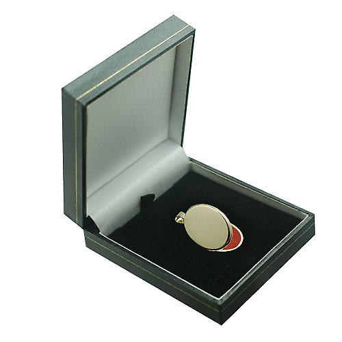 9ct Gold-26x19mm Klar flachen ovalen Medaillon