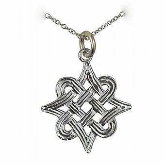 Silver 20x17mm Celtic knot Pendant with a rolo Chain 24 inches