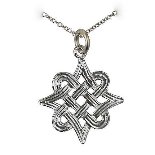Silver 20x17mm Celtic knot Pendant with a rolo Chain 20 inches