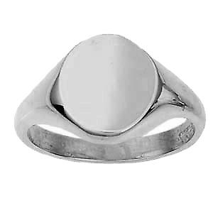 Platinum 950 14x12mm solid plain oval Signet Ring Size W