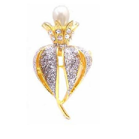 Blooming Pearls Bud & Decorated with Cubic Zircon & Crystals Brooch