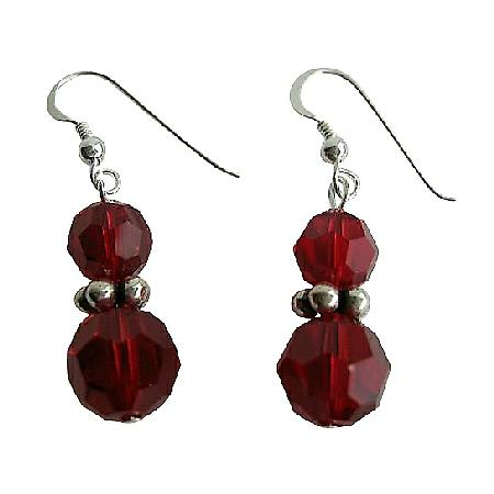 Vintage Swarovski Siam Red Crystals Earrings w/ Sterling Silver