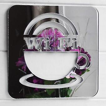 WIFI & Coffee Cup Square Acrylic Mirror Sign
