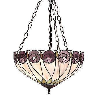 Hutchinson moyen Tiffany Style inversé trois plafond lumineux pendentif - Interiors 1900 64175