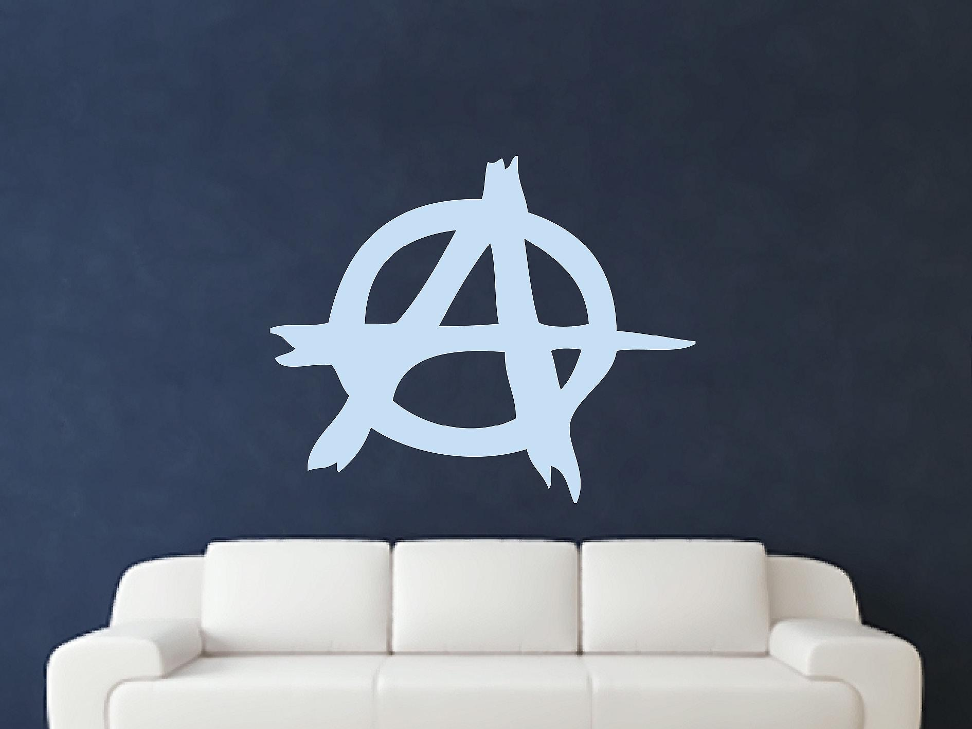 Anarchy Symbol Wall Art Sticker - Pastel Blue