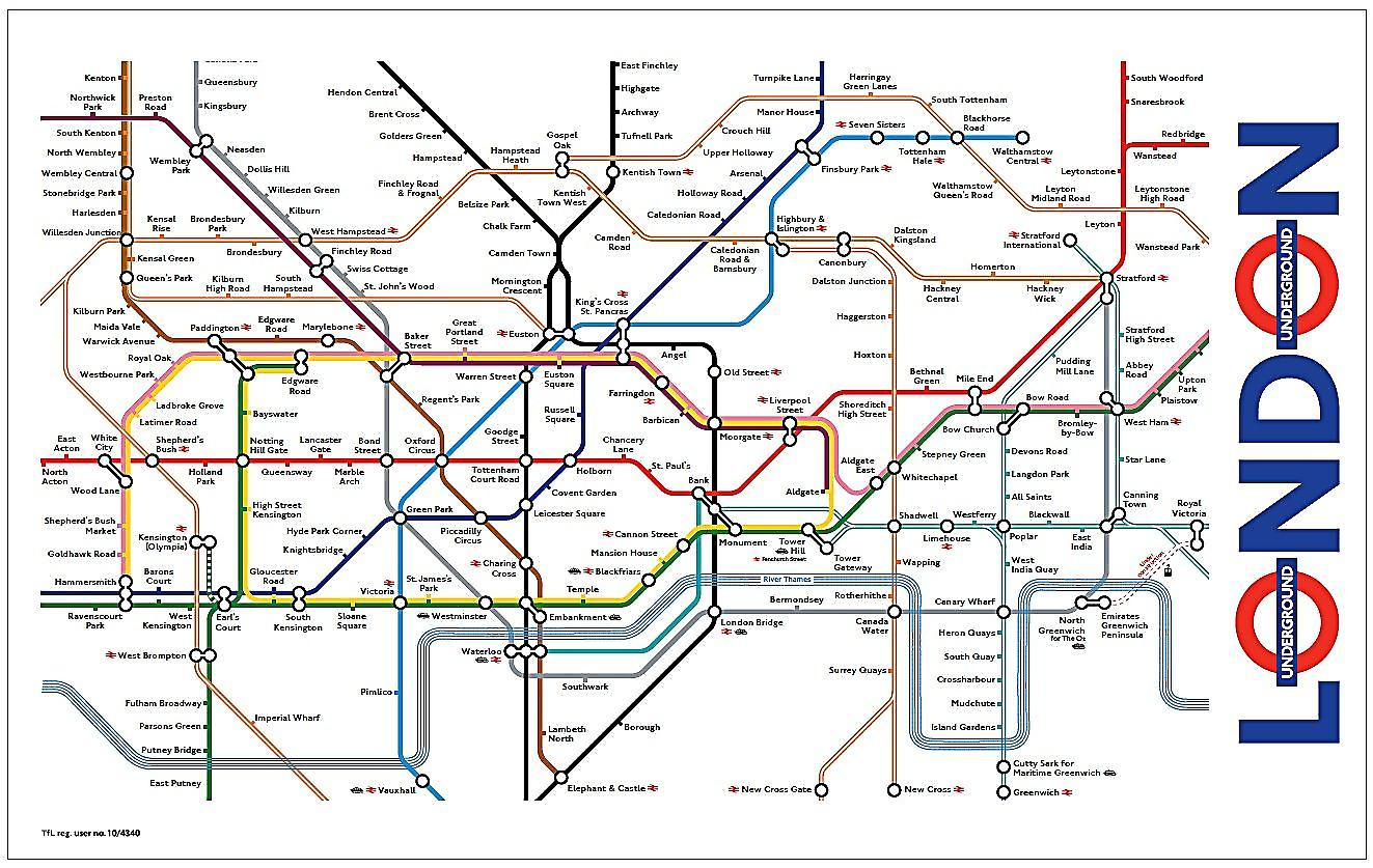 London Underground Map Tea Towel  (ba)
