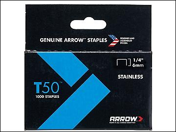 Arrow T50 Staples Stainless Steel 504SS 6mm (1/4in) Box 1000