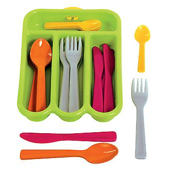 Gowi Toys Children's Pretend Play Cutlery Set (Green) Set of 4 Role Play Kitchen